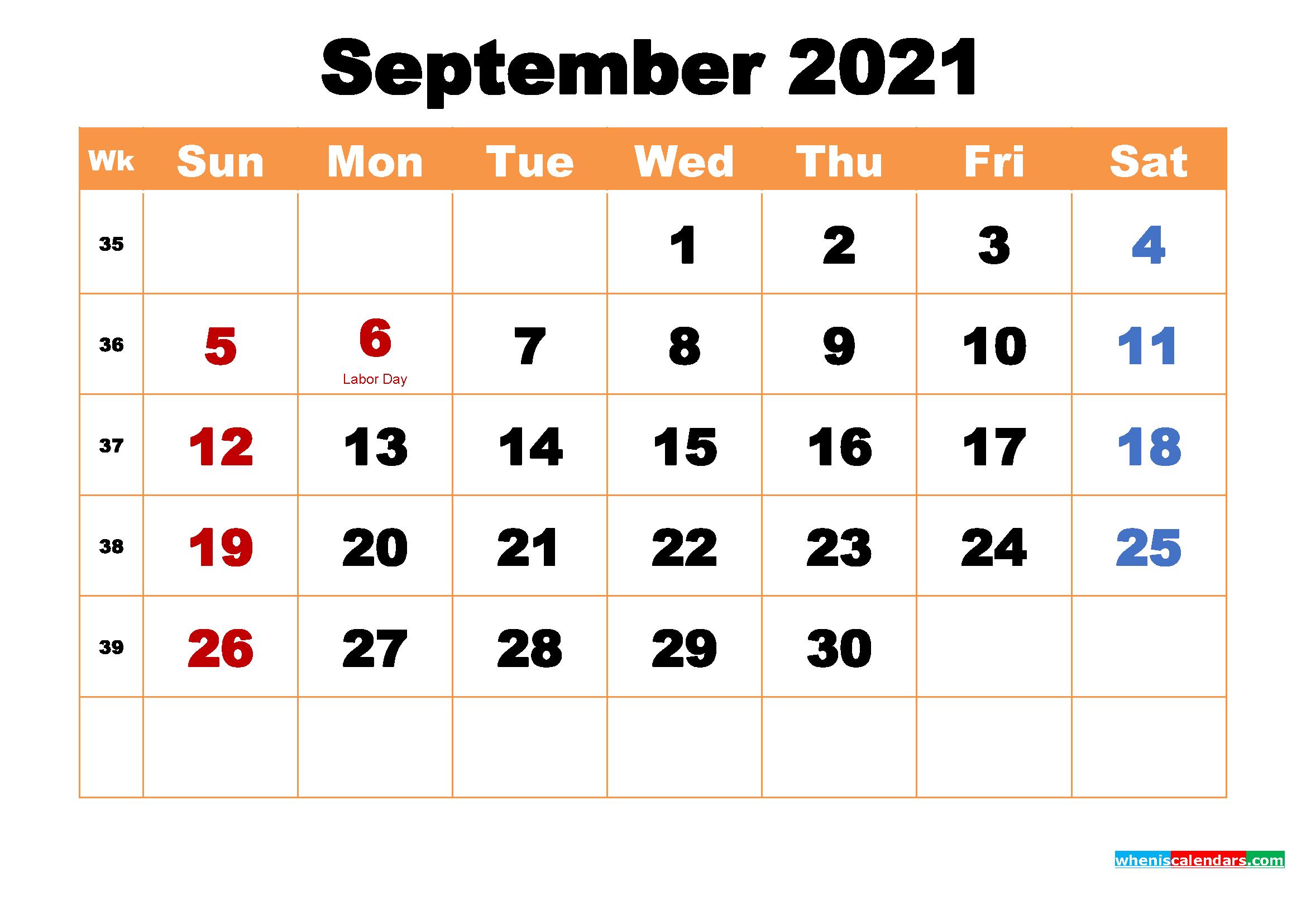 Free printable october 2021 calendars. Printable Calendar for September 2021