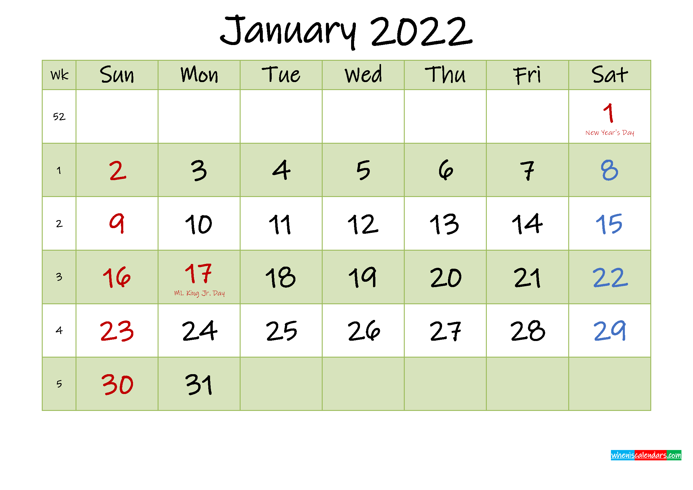 The calendar provides all the months of year, so that users can plan the each month in required manner. January 2022 Calendar with Holidays Printable - Template ...