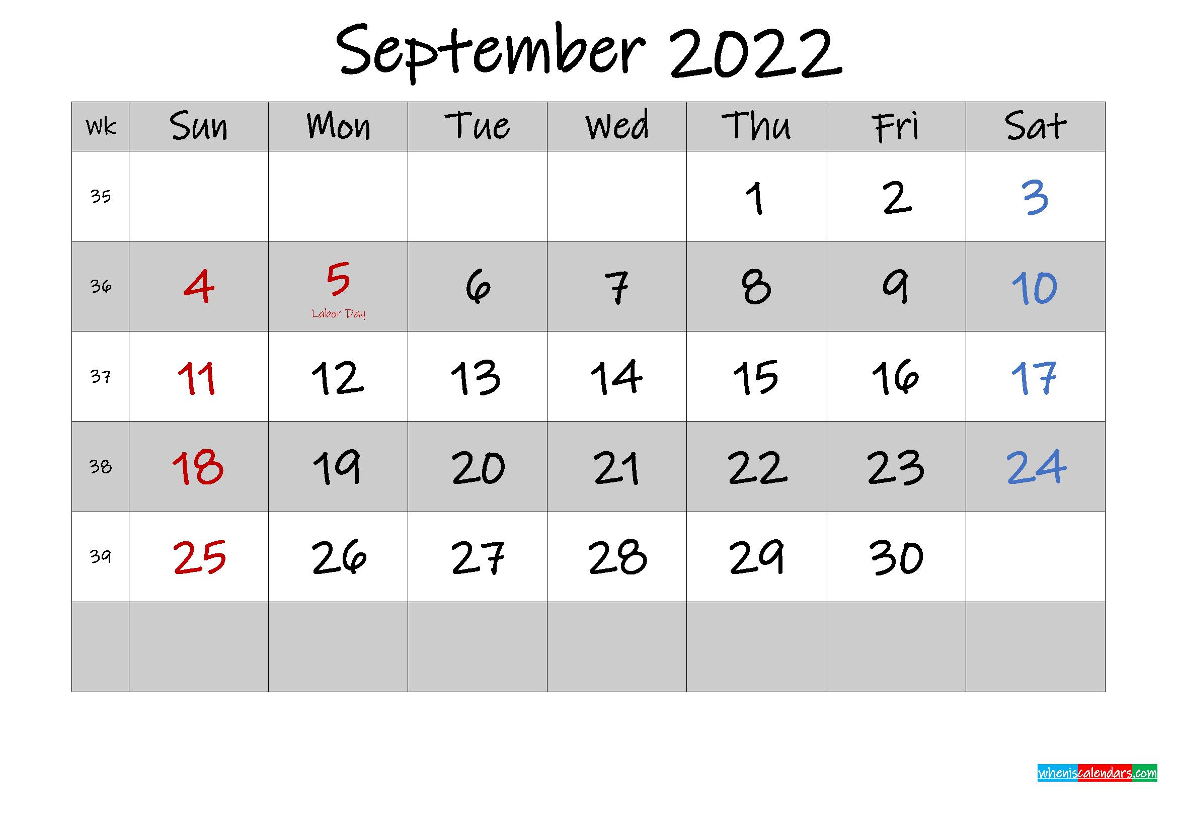 About september 2022 calendar printable. Free Printable September 2022 Calendar with Holidays ...