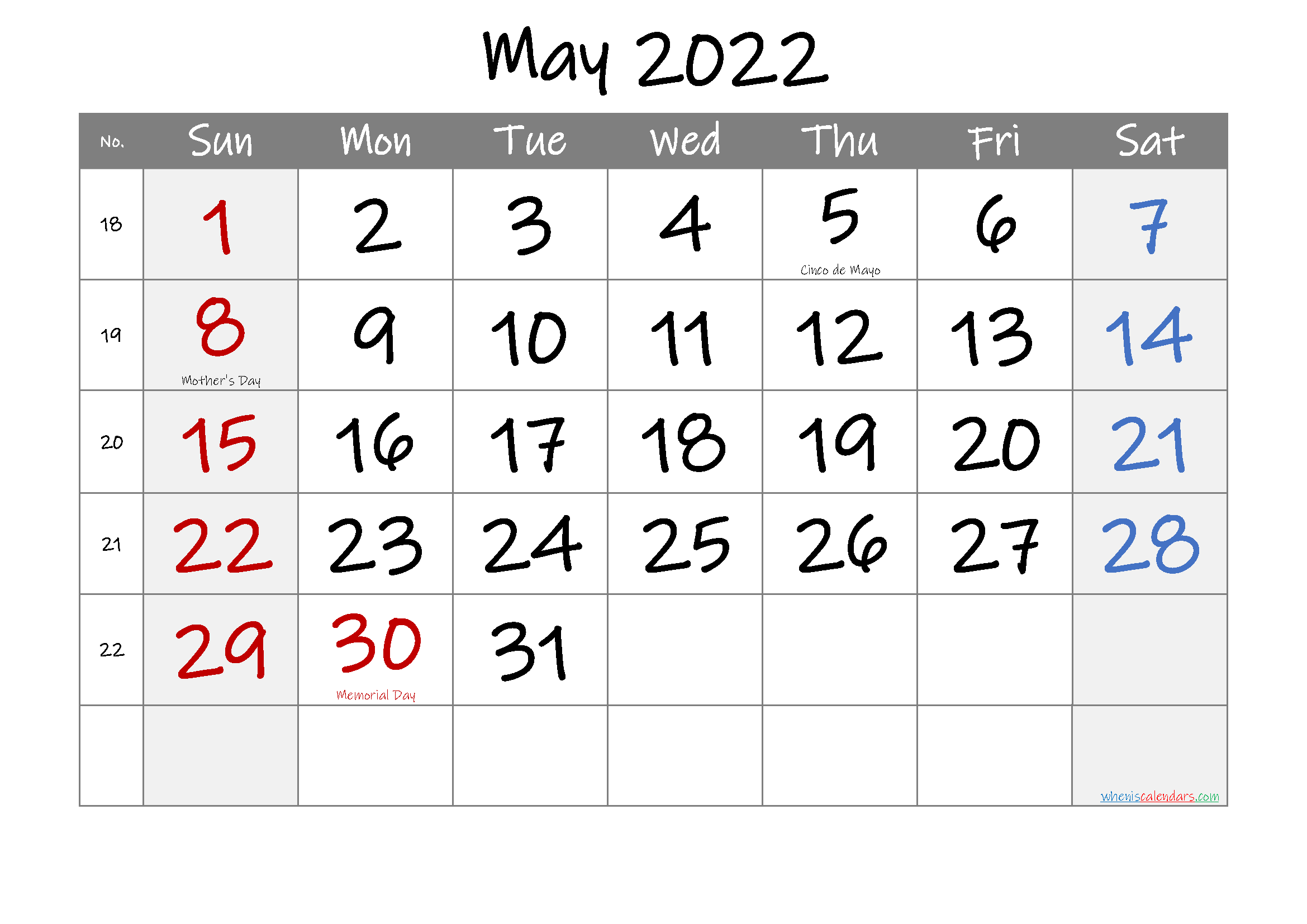Time rules our lives, with appointments and deadlines guiding us through our days. May 2022 Free Printable Calendar with Holidays-Template No ...