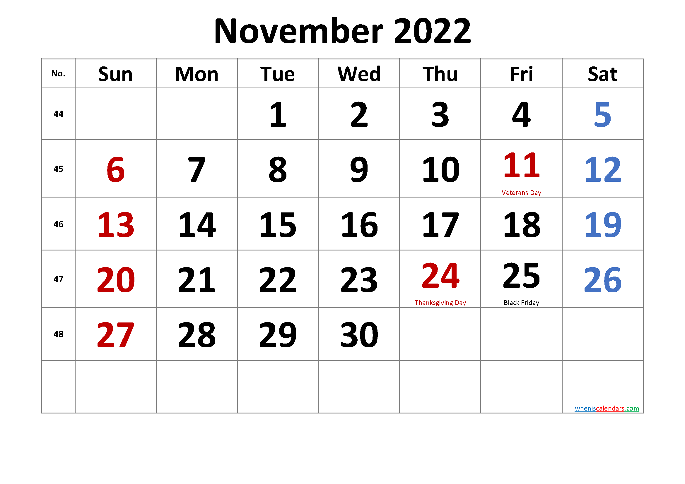 Sure, digital calendars are convenient — we can take them everyw. Printable November 2022 Calendar with Holidays