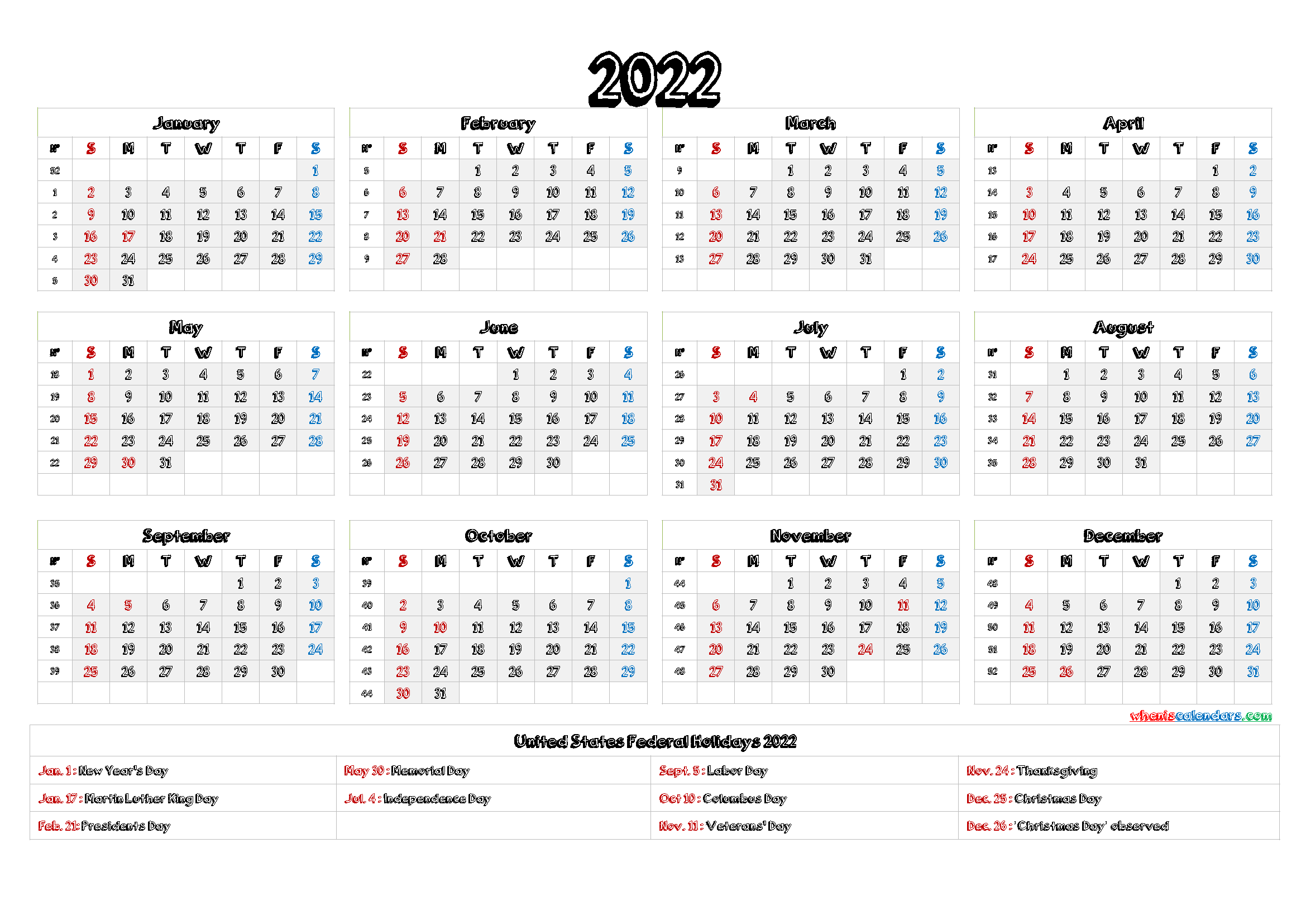 This printable 2021 2022 year calendar is to availale for downlaor or print and show others. 2022 Calendar with Holidays Printable - 9 Templates | Free ...
