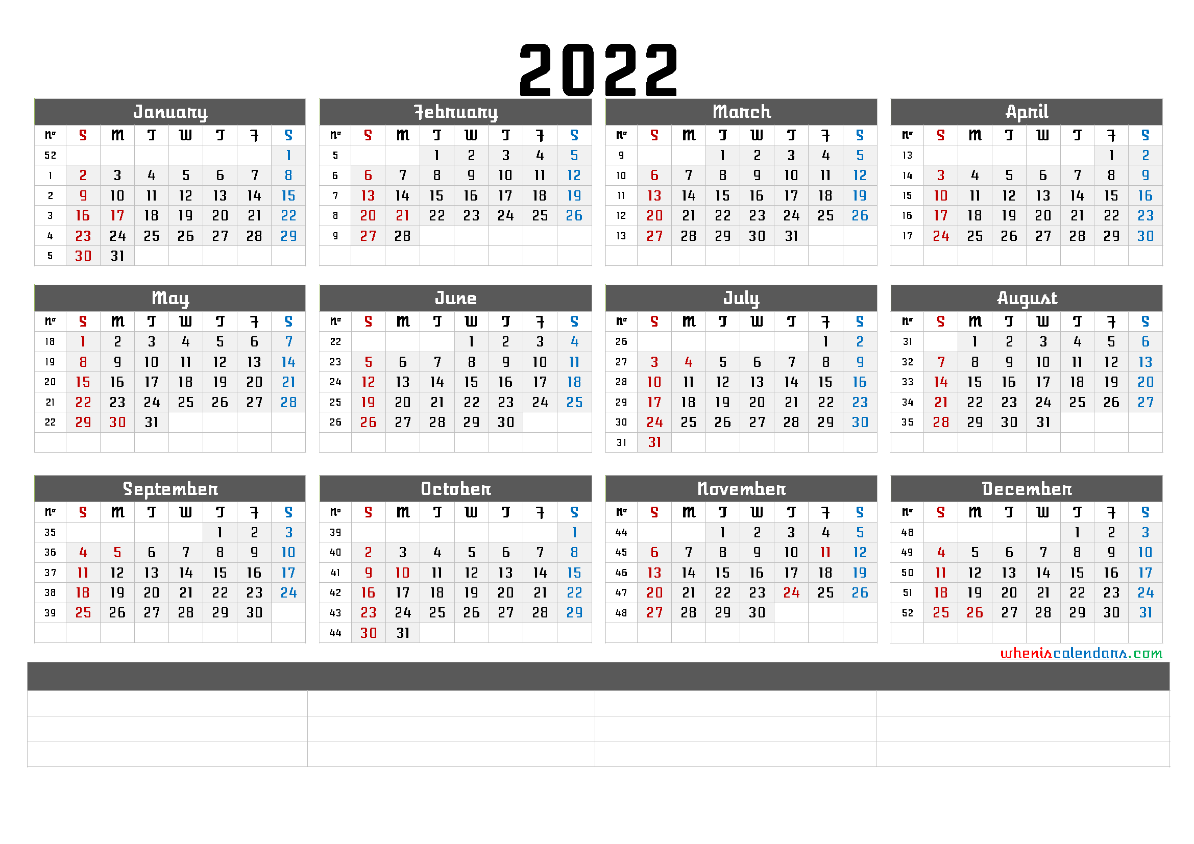 What's more, the technology is accelerating at an exponential. Printable 2022 Yearly Calendar with Week Numbers (6 Templates)