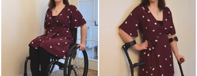 Red Heart Print Wrap Dress, wheelchair fashion