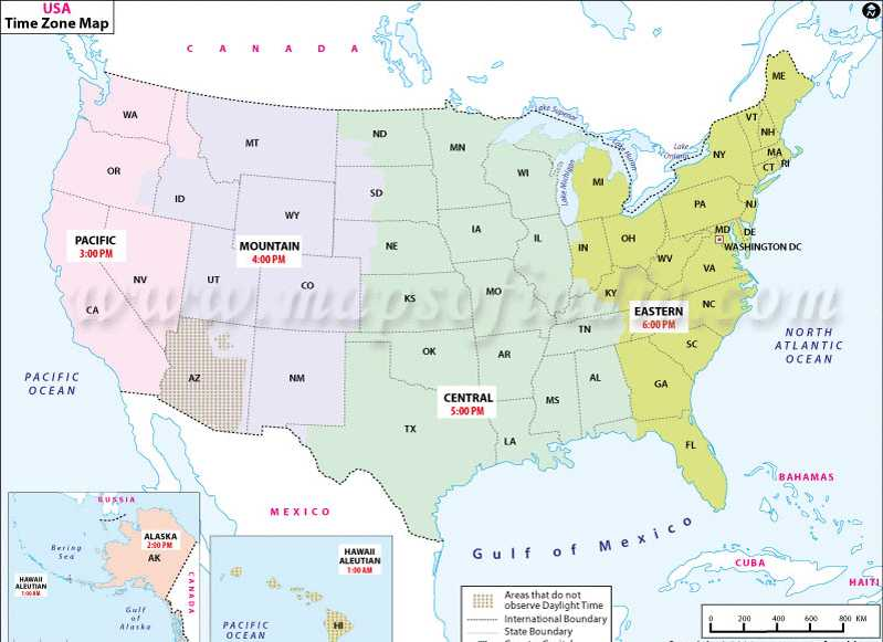 Several states in the central us (mountain ← central) and eastern us (central ← eastern), have locations that use the contiguous states time zone. Usa Time Zones Map Time Zones In The United States