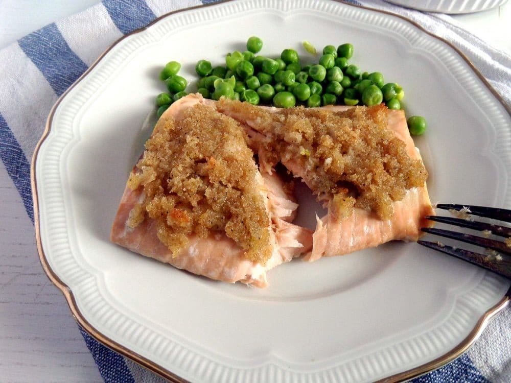 salmon with lime peas Salmon with Lime Crust