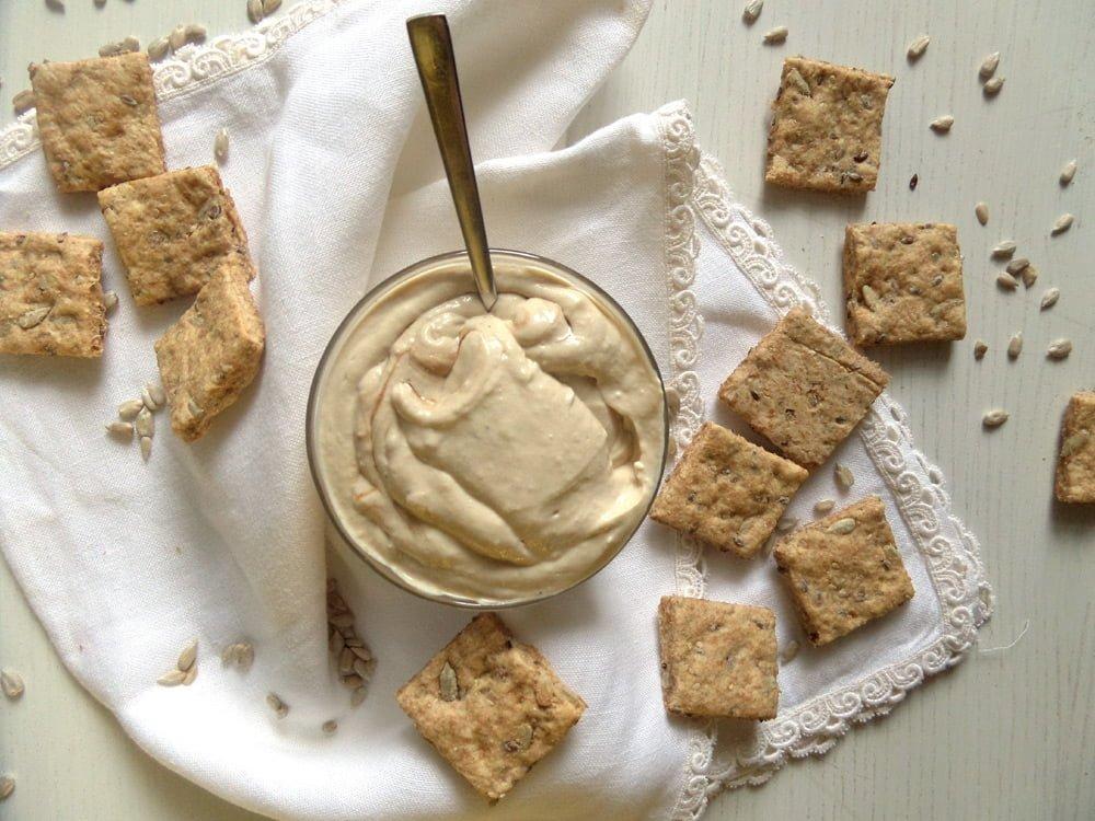 tofu spread dip vegan Silken Tofu Spread with Spelt Crackers