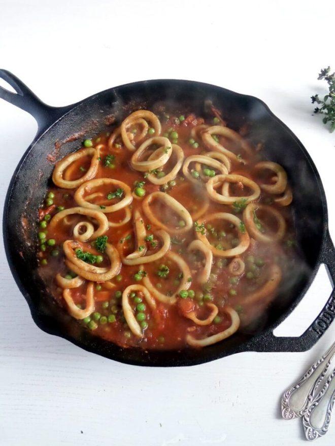 spaghetti calamari italian 768x1024 Spaghetti with Calamari and Peas