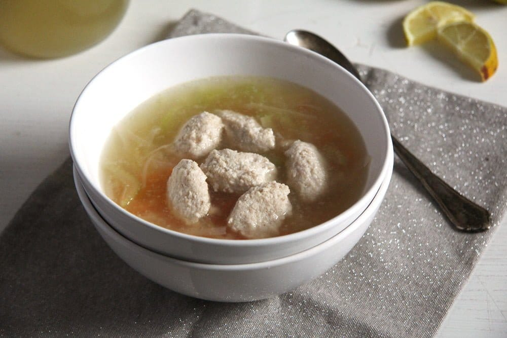fish stock salmon balls Cauliflower Soup with Almond Balls and Coriander Cumin Dukkah