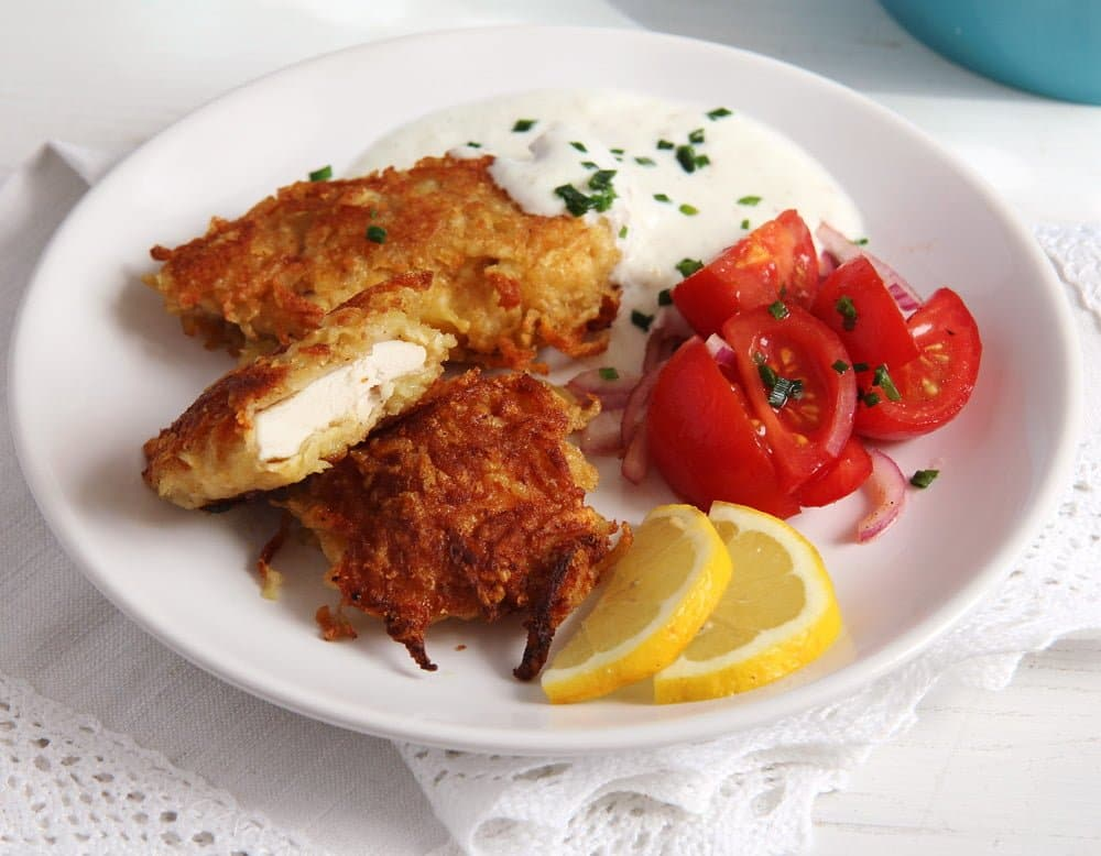 schnitzel potato garlic sau Chicken Schnitzel in Pancake Batter