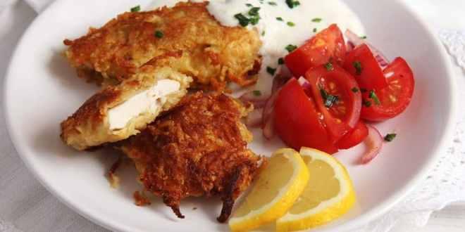 Chicken Schnitzel with Potato Parmesan Crust