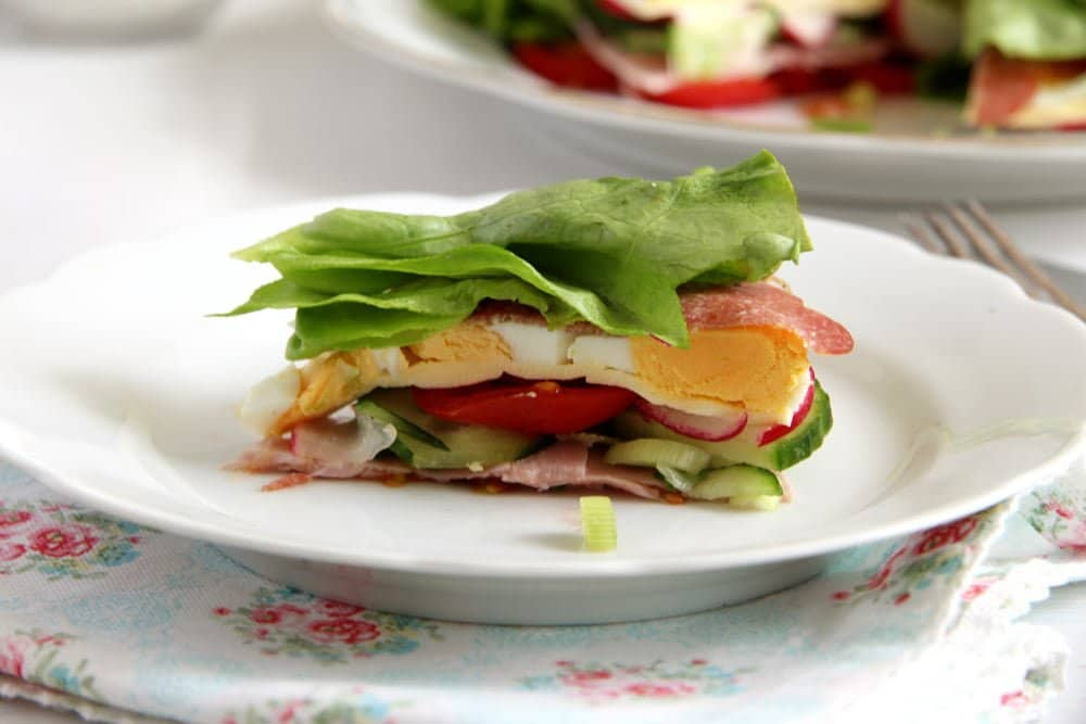 "salad torte eggs Salad ""Torte"" with Vegetables, Ham and Cheese"