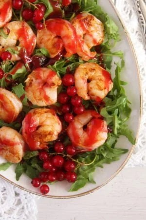 red currant shrimps 300x450 Tiger Prawns with Red Currant Sauce and Rocket