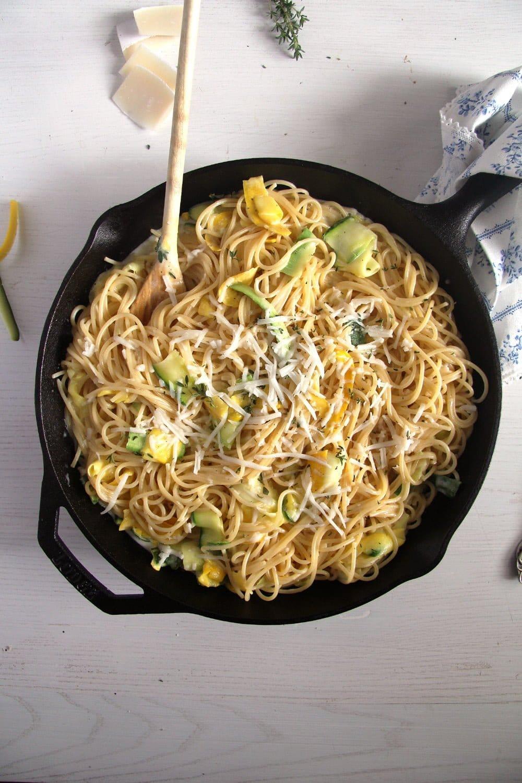 spaghetti zucchini goat che Spaghetti with Zucchini and Goat Cheese