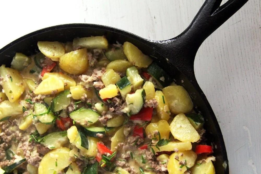 zucchini potato beef Zucchini Beef Skillet