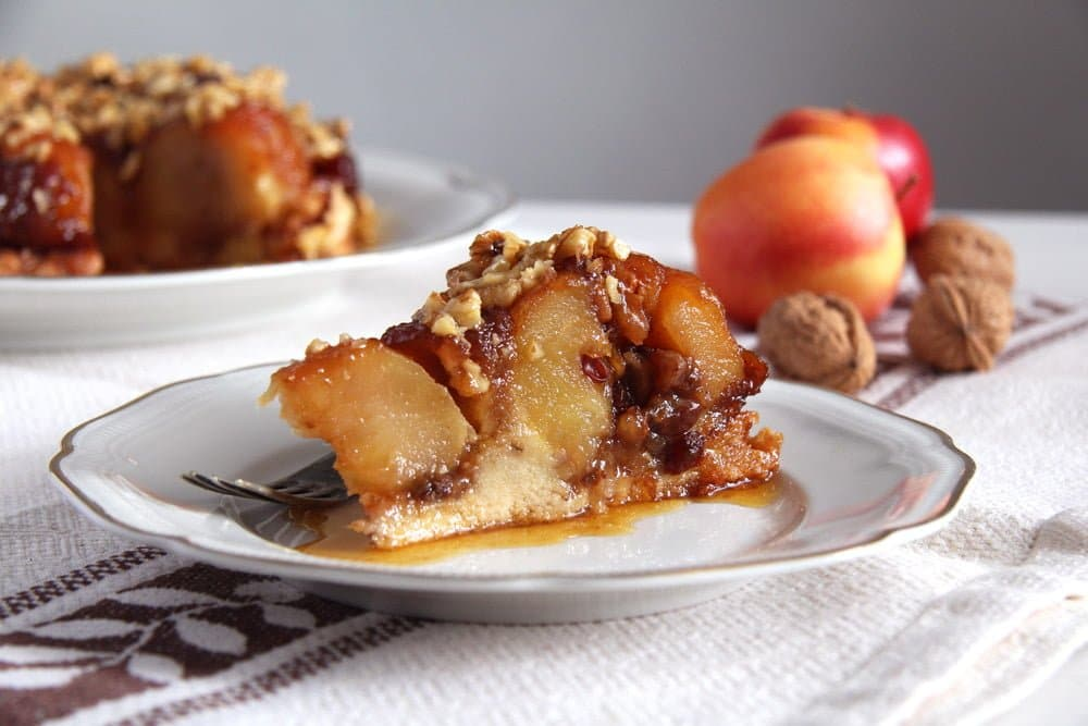apple caramel cake walnuts Apple Caramel Cake with Whole Baked Apples