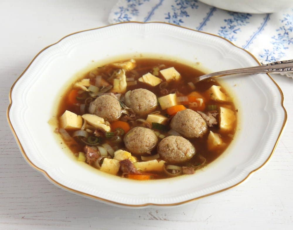 beef soup vegetables German Beef Soup with Egg Custard and Marrow Dumplings