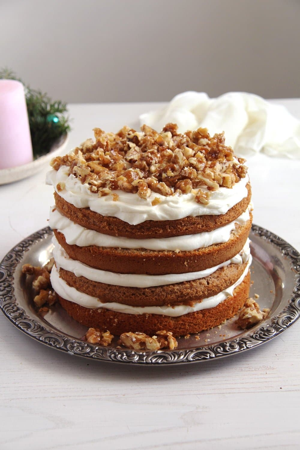 walnut cake caramelized Caramelized Walnut Cake with Honey Quark Filling