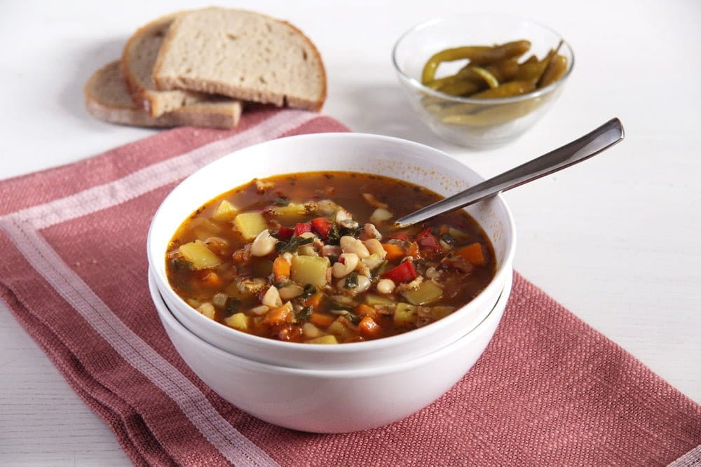 bean soup vegetables White Bean and Vegetable Soup with Bone Broth