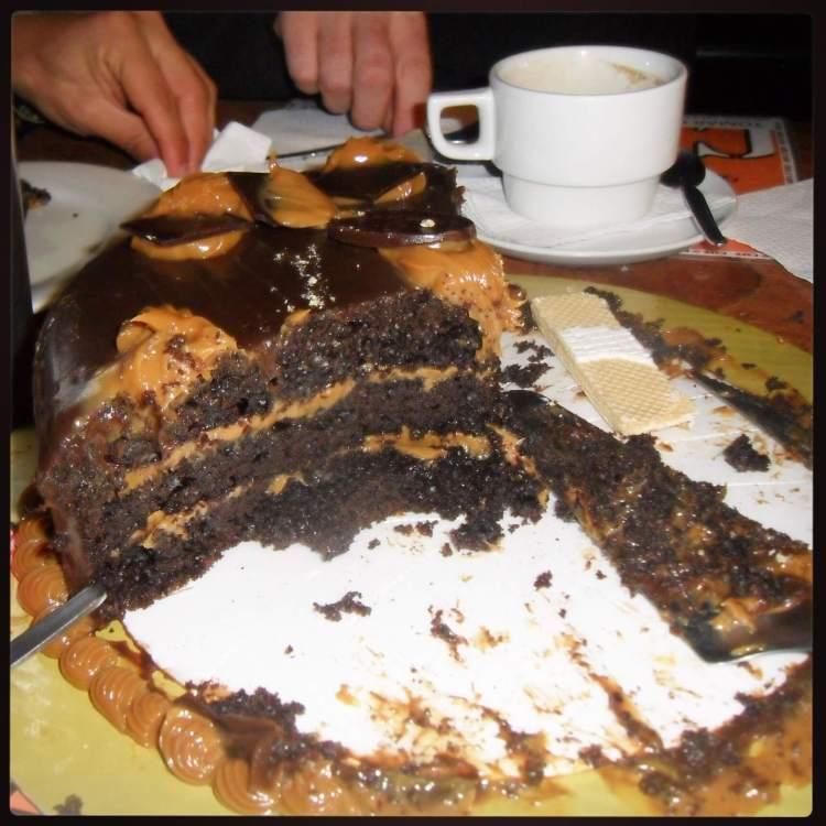My birthday cake! Dulce de leche and chocolate. So rich. So fantastic. Never had a cake like this in my life. Unreal.