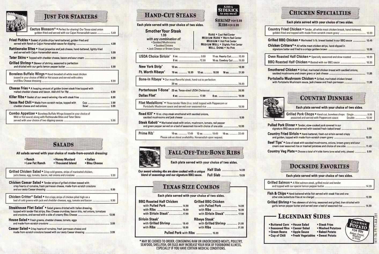 Texas Roadhouse Menu Lunch