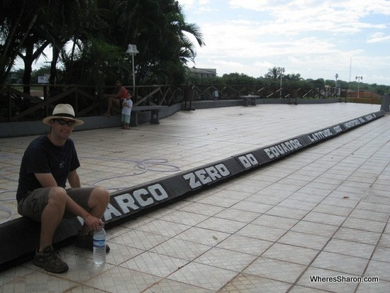 Sitting on the equator line at macapa brazil