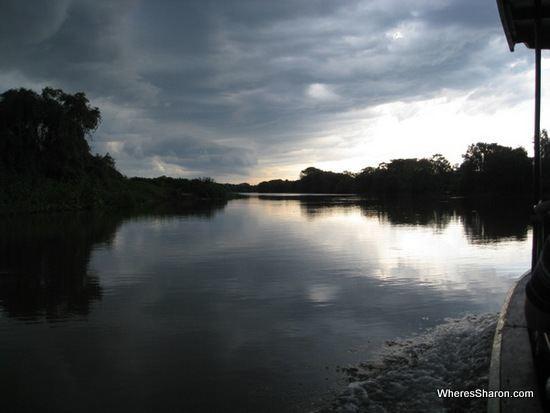 Leaden skies over the Rio do Miranda pantanal wetlands tour brazil