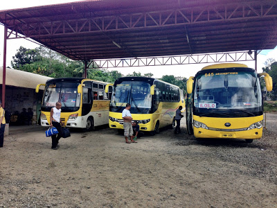 Bus terminal in Roxas City with buses Philippines