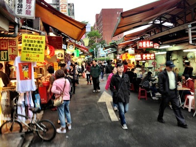 Shida night market about 5:30pm food stalls and lots of people in Taipei