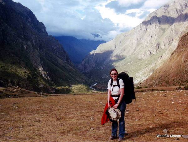Inca trail with andes mountains