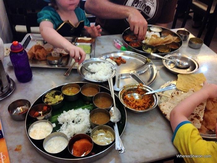 vegetarian feast in little india, kuala lumpur for kids