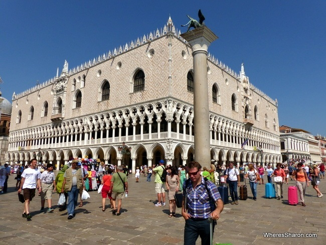The Doge's Palace as seen from the edge of Piazza San Marco.