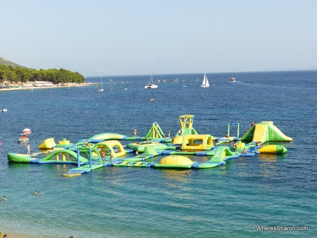 Inflatable water park brac