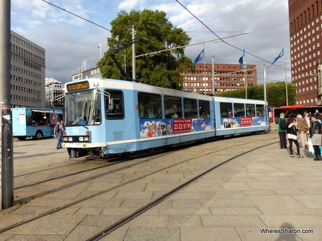 One of Oslo's distinctive blue trams.