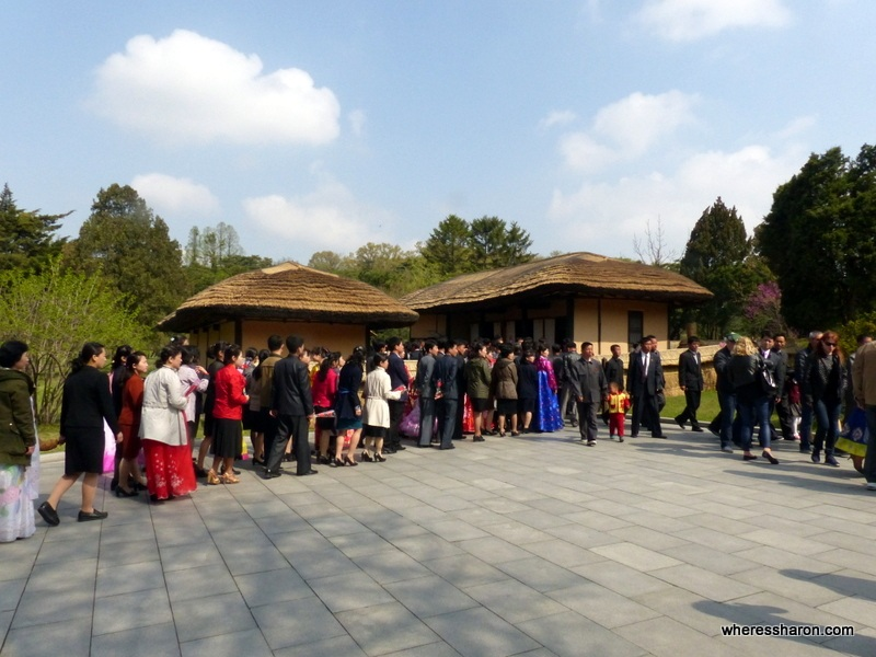 Locals visiting the birthplace of Kim Il Sung