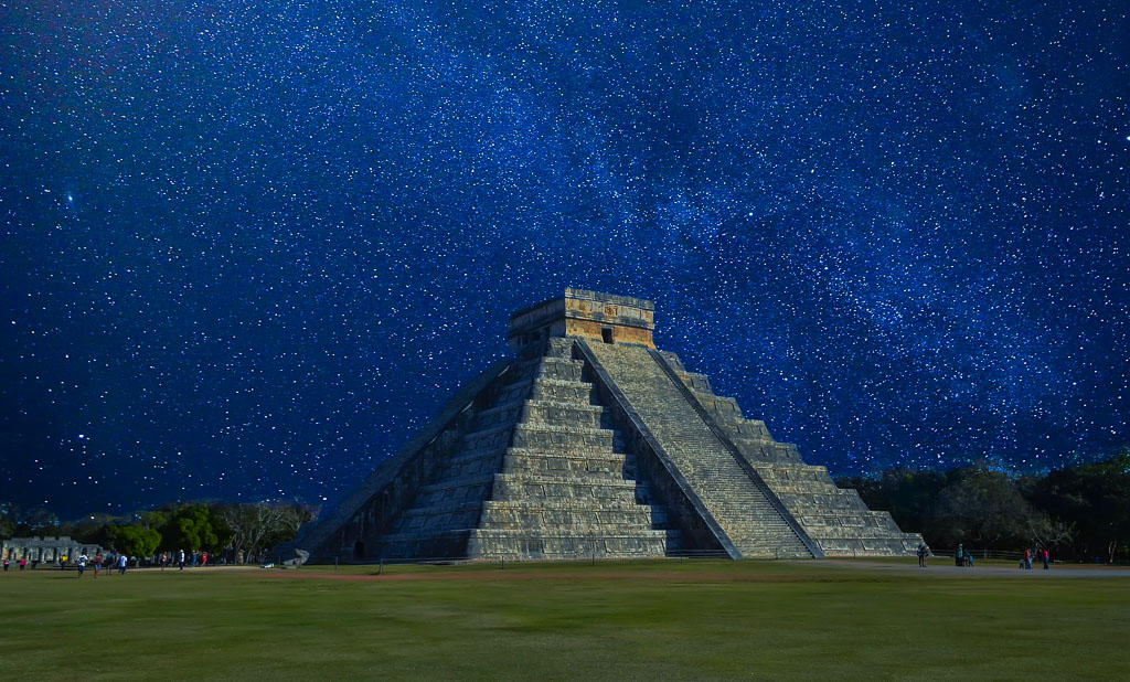Nightfall at the Mystical Pyramid of Kulkukan at Chichen Itza