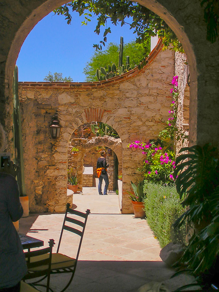 Courtyard in the once prosperous silver and gold mining town of Mineral de Pozos in Guanajuato state of Mexico.