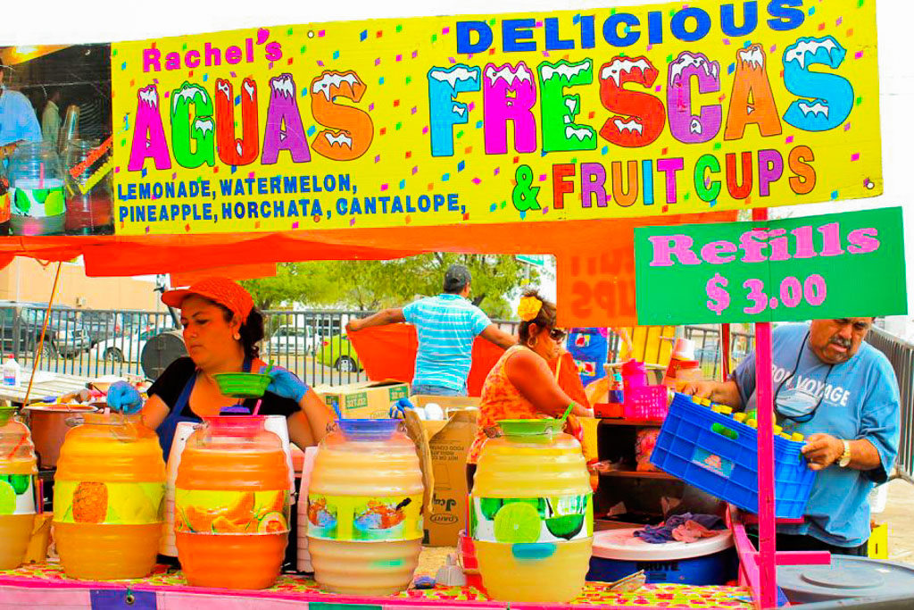 Brightly colored aguas frescas are a refreshing and healthy drink on a hot day.