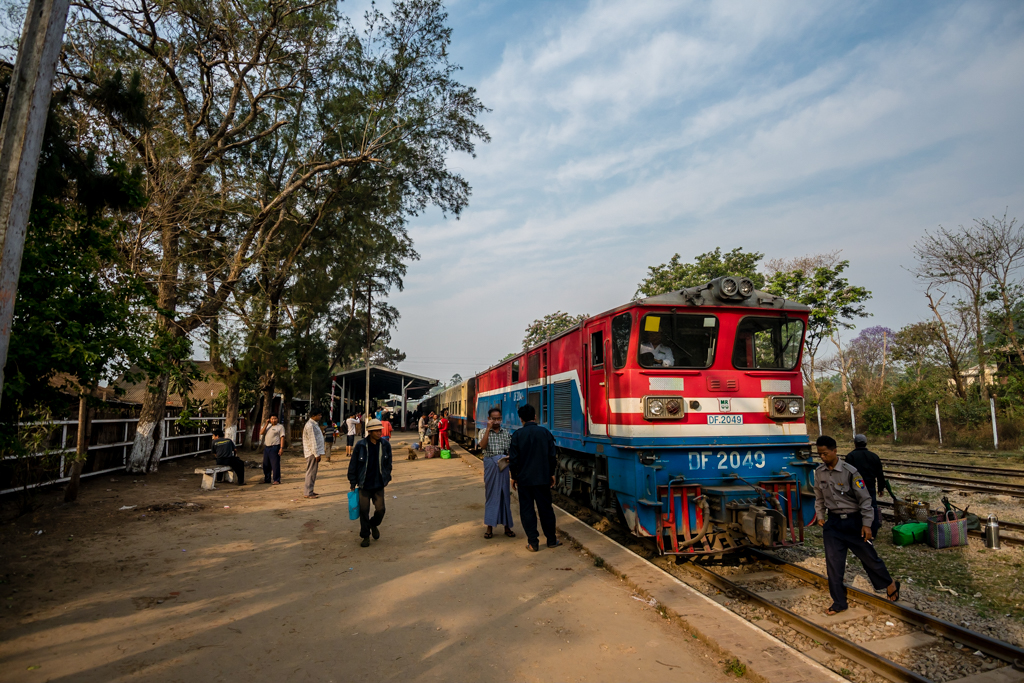 Burmese train at village station