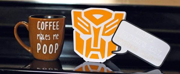 Coffee Makes Me Poop Mug & Transformers Card