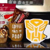 Transformers Father's Day Card & 'Coffee Makes Me Poop' Mug