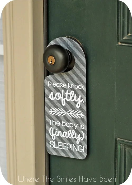 Sleeping Baby Door Hanger via Where The Smiles Have Been