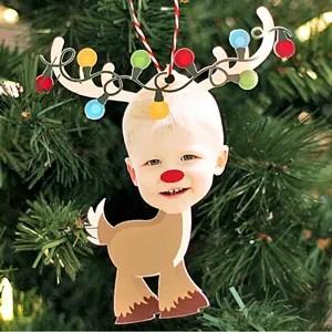 Reindeer Photo Ornament Christmas Card