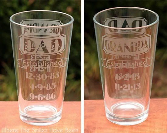 Dual-Sided Dad & Grandpa Established Etched Glass | Where The Smiles Have Been