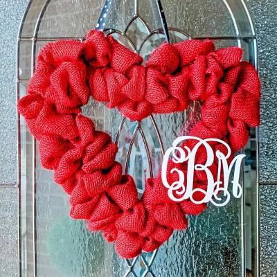 Red burlap heart Valentine's Day wreath.