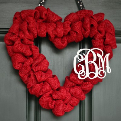 Valentine's Burlap Heart Wreath with Couple's Monogram
