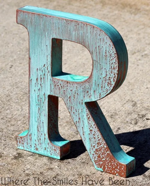 DIY Faux Copper Letter Aged with Blue Patina   Where The Smiles Have Been