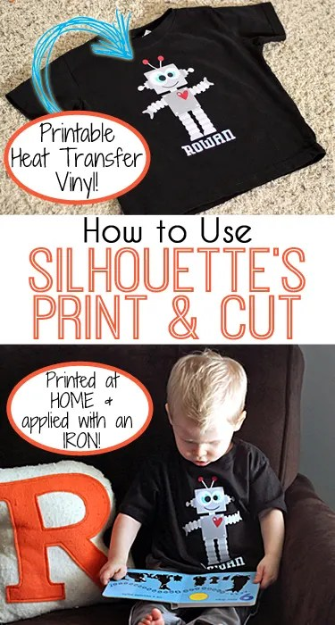 How to Use the Print and Cut Function with a Silhouette & Make a Robot Valentine's Shirt