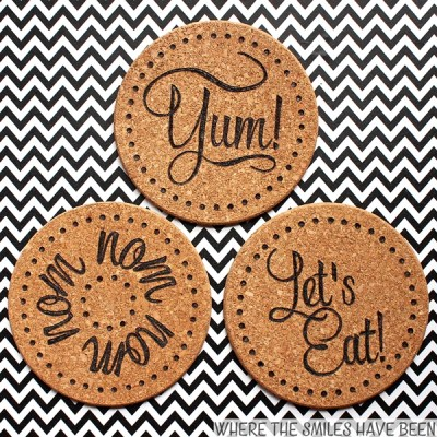 DIY Burned IKEA Cork Trivets: Cheap & Easy IKEA Hack! | Where The Smiles Have Been