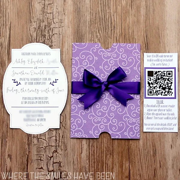 DIY Wedding Invites With Mobile App Amp QR Code FREE Cut Files
